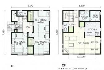 新築お風呂二階間取り実例画像