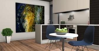 アイランドキッチンインテリア視覚的効果