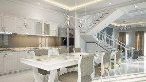 キッチン壁紙と家具の合わせ方白