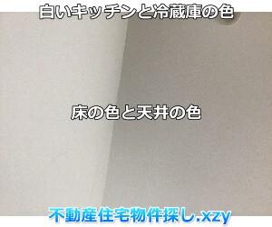 白いキッチンと冷蔵庫の色と天井